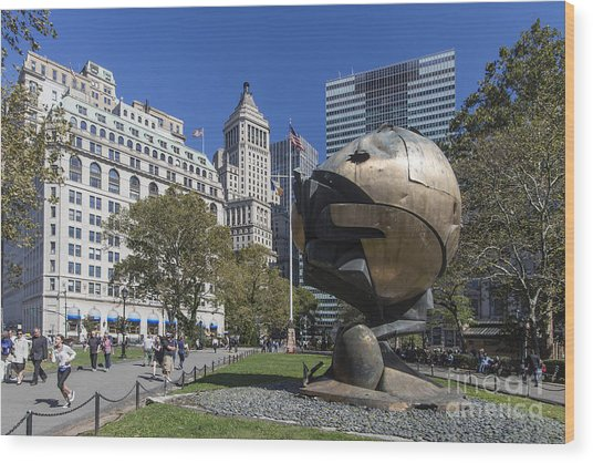 Wood Print featuring the photograph The Sphere Batterie Park Nyc by Juergen Held