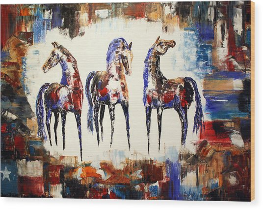 The Spirit Of Texas Horses Wood Print