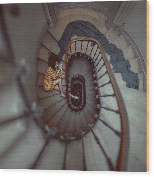 The Stair Romance Wood Print by Anka Zhuravleva