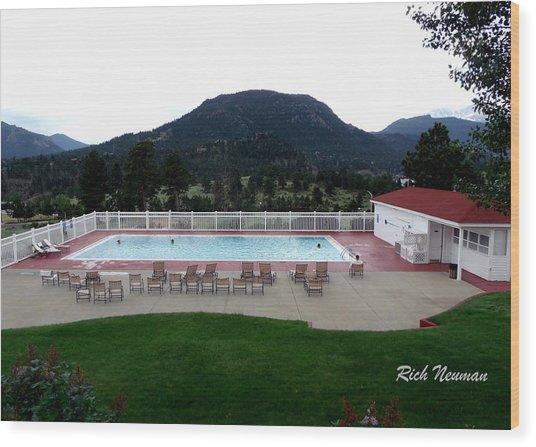 The Stanley Hotel Pool Wood Print