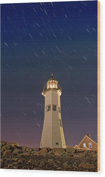 The Star Of Old Scituate Light Wood Print