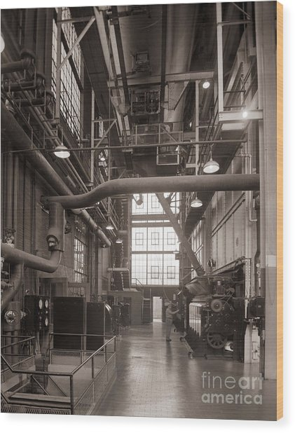 The Stegmaier Brewery Boiler Room Wilkes Barre Pennsylvania 1930's Wood Print