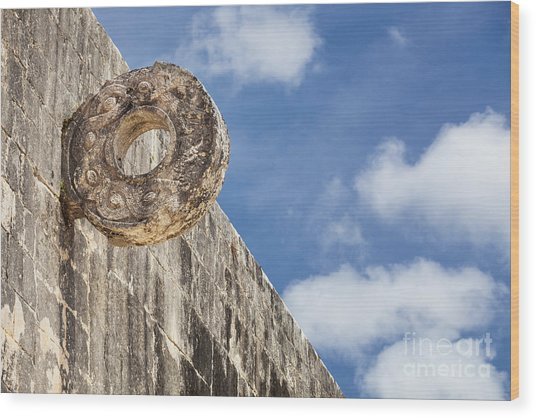 The Stone Ring At The Great Mayan Ball Court Of Chichen Itza Wood Print