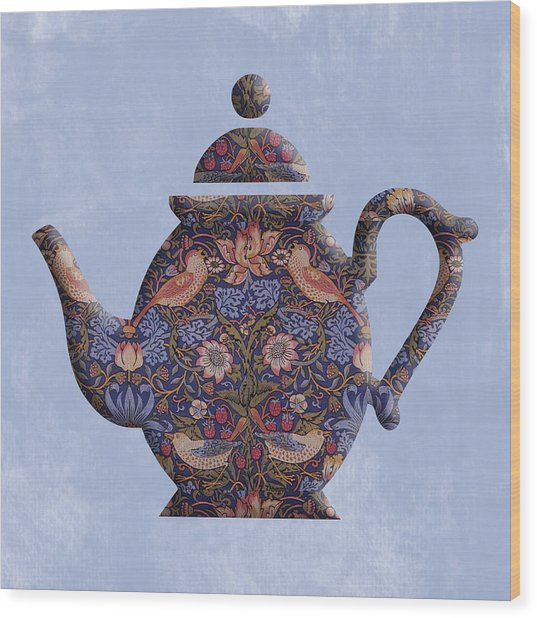 The Strawberry Thief Pattern Teapot Wood Print