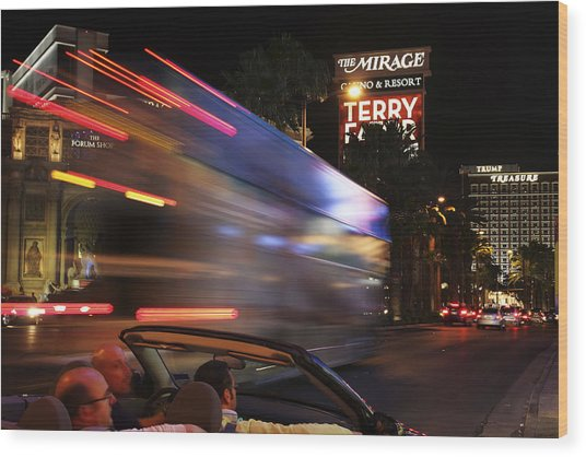 The Strip At Night 4 Wood Print by Don MacCarthy