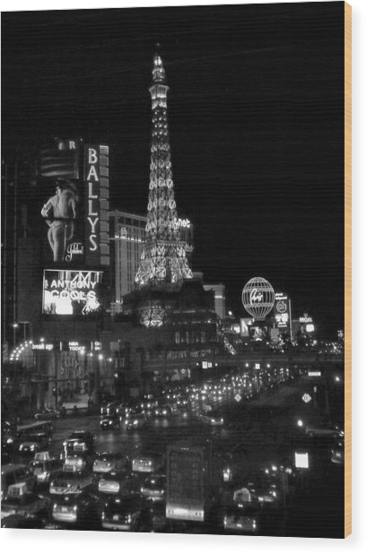 The Strip By Night B-w Wood Print