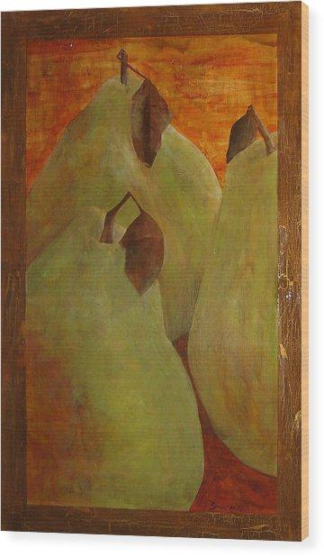 The Study Of Three- Pears Wood Print by Ellen Beauregard