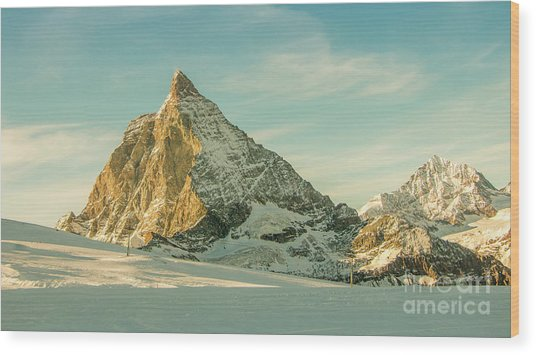 The Sun Sets Over The Matterhorn Wood Print