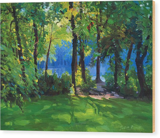 The Sunny Side Of A Pond Wood Print