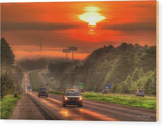 The Sunrise Commute Georgia Interstate 20 Art Wood Print