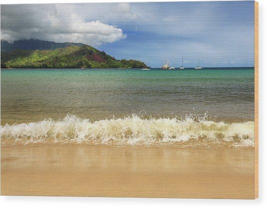 The Surf At Hanalei Bay Wood Print