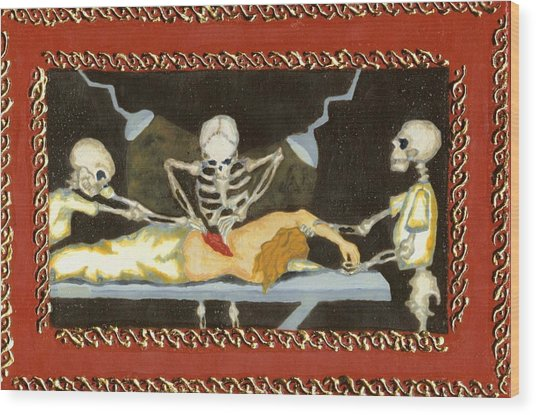 The Surgeon's Rape Wood Print by Cathy Germay