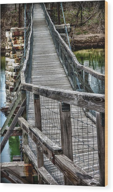 The Swinging Bridge Wood Print