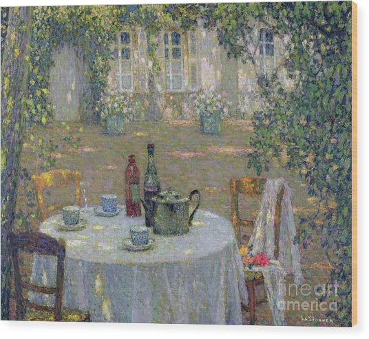 The Table In The Sun In The Garden Wood Print
