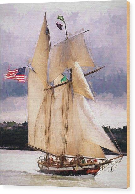 The Tall Ship The Lynx, Fine Art Print Wood Print