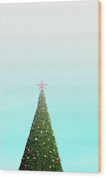 The Tallest Christmas Tee- Photograph By Linda Woods Wood Print