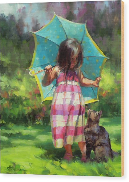 The Teal Umbrella Wood Print