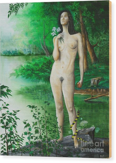 The Temptation Of Eve Wood Print by Christopher Keeler Doolin