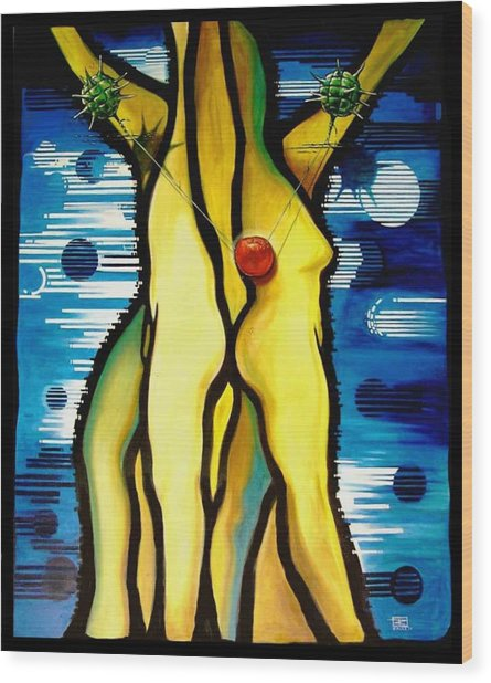 The Temptation Wood Print by Roger Calle