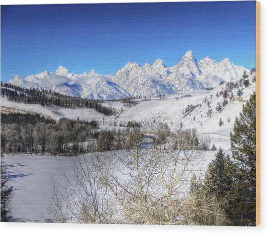 The Tetons From Gros Ventre Valley Wood Print
