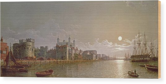 The Thames By Moonlight With Traitors' Gate And The Tower Of London Wood Print