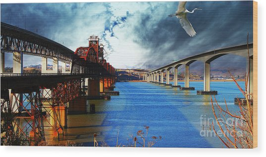 The Three Benicia-martinez Bridges . A Journey Through Time Wood Print