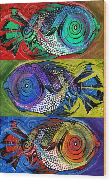 The Three Fishes Wood Print