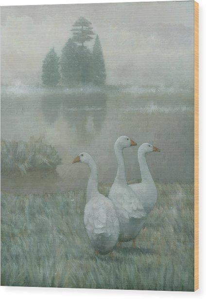 The Three Geese Wood Print