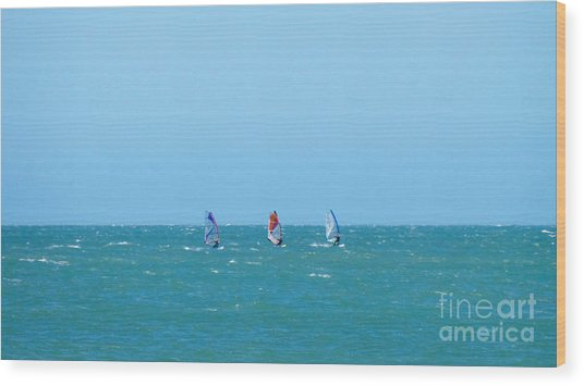 The Three Surfers Wood Print