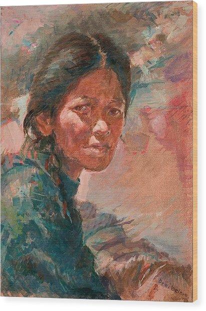 The Tibetan Girl Wood Print