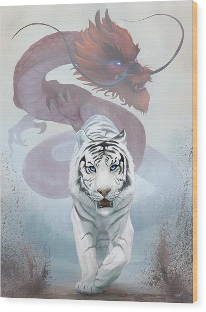 The Tiger And The Dragon Wood Print