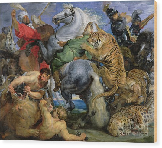 The Tiger Hunt Wood Print