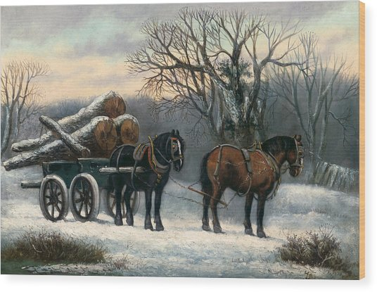 The Timber Wagon In Winter Wood Print