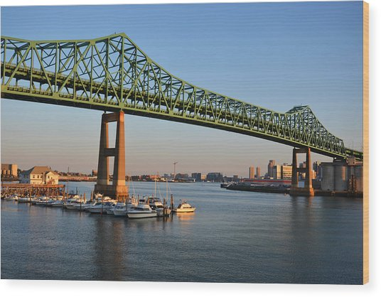 The Tobin Bridge Into The Sunset Chelsea Yacht Club Wood Print
