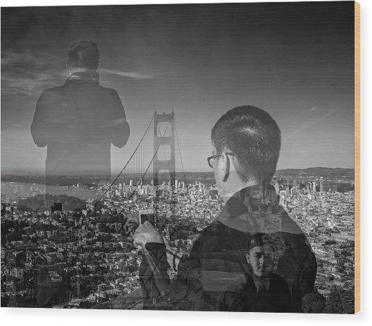 The Tourists - Golden Gate Bridge Wood Print