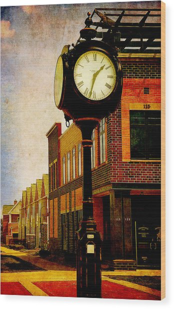 the Town Clock Wood Print