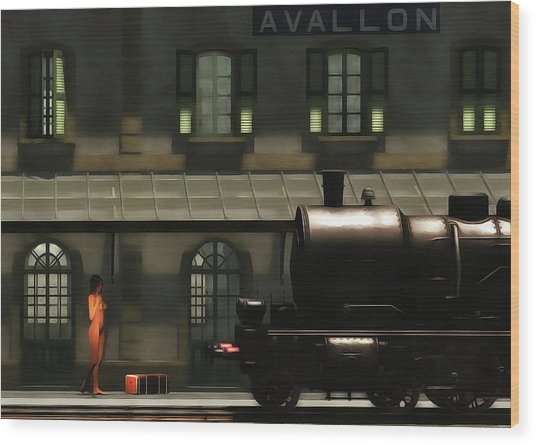 Wood Print featuring the painting The Train In The Morning by Jan Keteleer