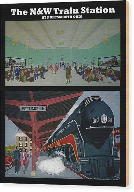 The Train Station At Portsmouth Ohio Wood Print