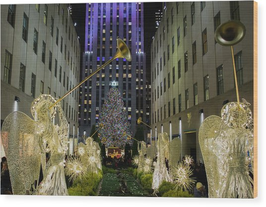 The Tree At Rockefeller Plaza Wood Print