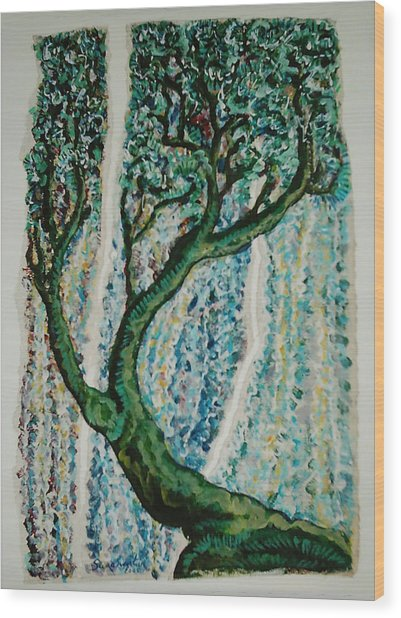 The Tree Energy Wood Print by Helene  Champaloux-Saraswati