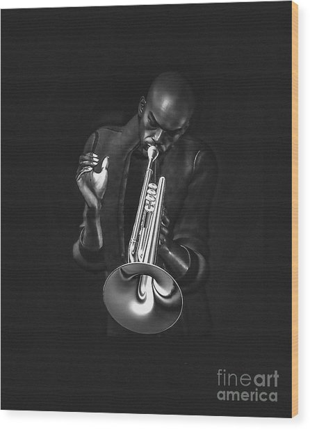 The Trumpet Player Wood Print