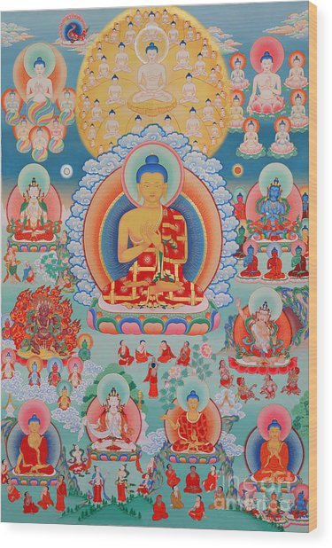 The Twelve Primordial Teachers Of Dzogchen - Tonpa Chu Ni Wood Print