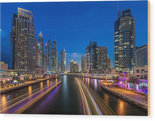 The Twilights Dubai Wood Print by Vinaya Mohan