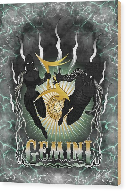 The Twins Gemini Spirits Wood Print