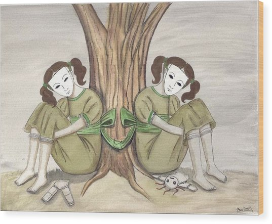 The Twins Wait Wood Print