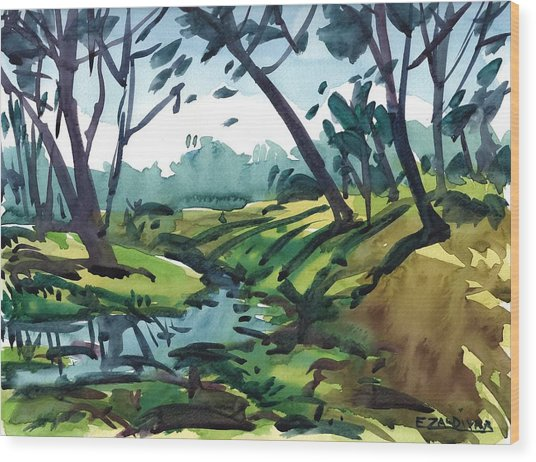 The Two Banks Of The River Wood Print