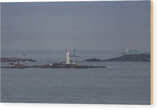 The Two Harbor Lighthouses Wood Print
