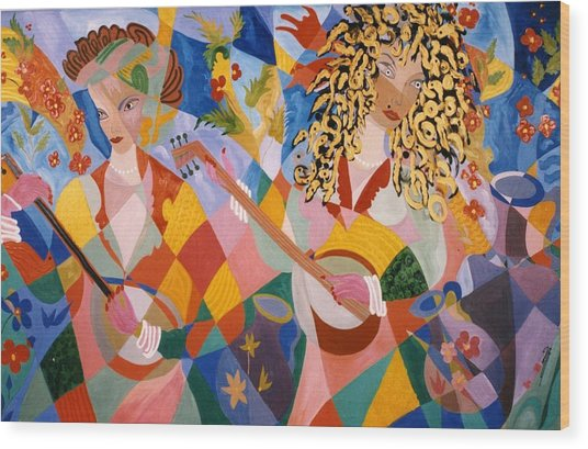The Two Women Musicians Wood Print