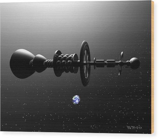 The United Earth Federation Starship Carl Sagan 1 Wood Print by Walter Neal