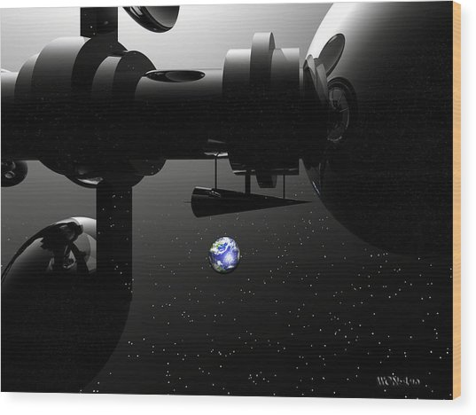The United Earth Federation Starship Carl Sagan 2 Wood Print by Walter Oliver Neal